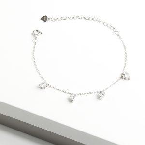 925 Sterling Silver Clear Cubic Zirconia Heart Charm Bracelet