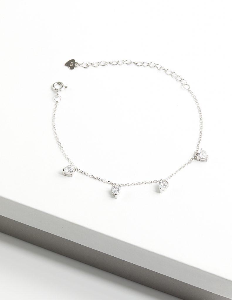 Callel 925 Sterling Silver Clear CZ Heart Charm Bracelet