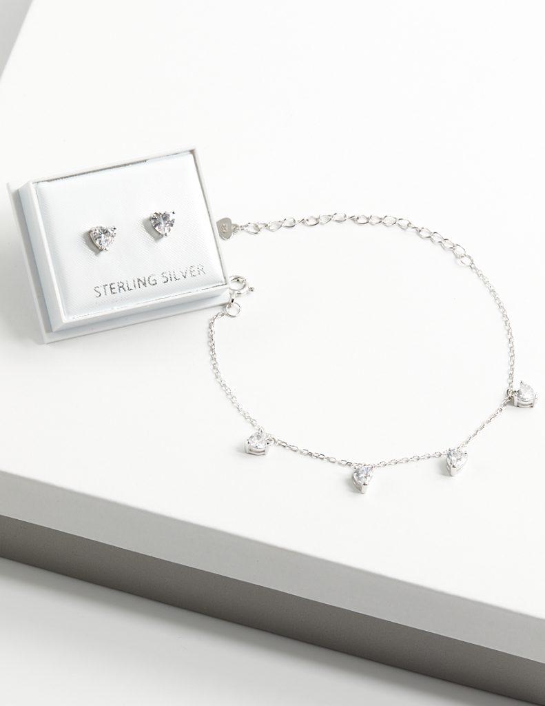 Callel 925 Sterling Silver Clear CZ Heart Earrings & Bracelet Jewellery Set