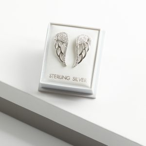 925 Sterling Silver Clear Cubic Zirconia Angel Wing Stud Earrings