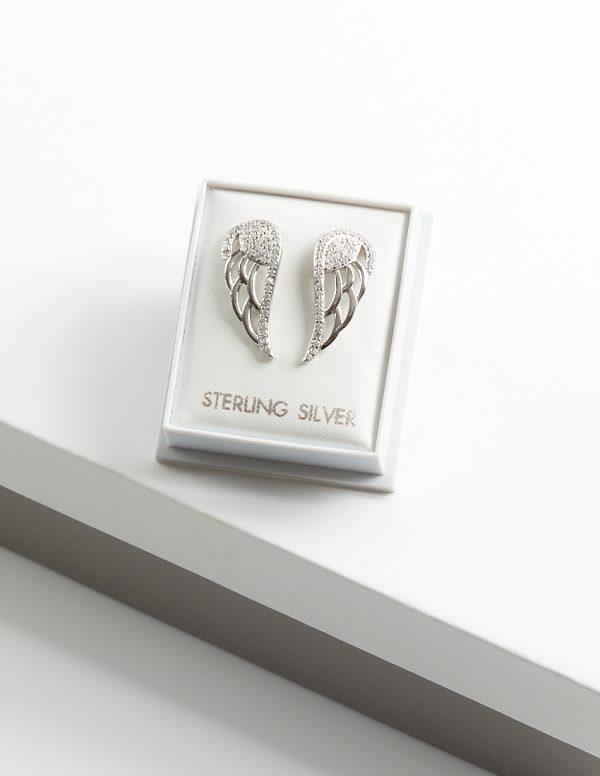 Callel 925 Sterling Silver Clear CZ Angel Wing Stud Earrings