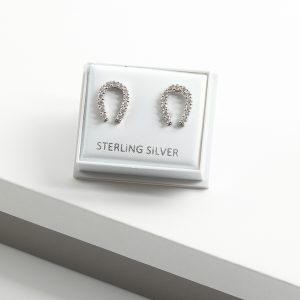 Sterling Silver Clear Cubic Zirconia Lucky Horseshoe Stud Earrings