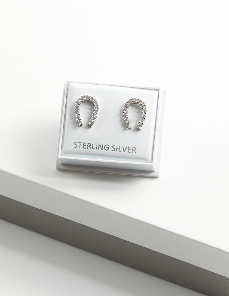 Callel Sterling Silver Clear CZ Lucky Horseshoe Stud Earrings