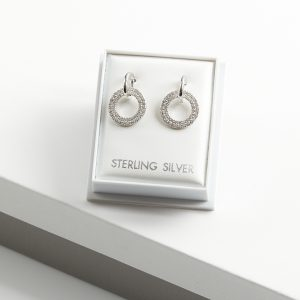 925 Sterling Siver Circle Clear Cubic Zirconia Drop Earrings