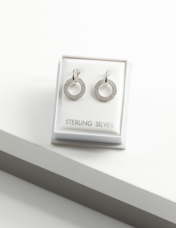 Callel 925 Sterling Siver Circle Clear CZ Drop Earrings