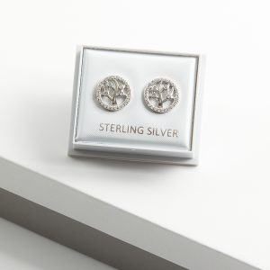 925 Sterling Silver Clear Cubic Zirconia Tree of Life Stud Earrings