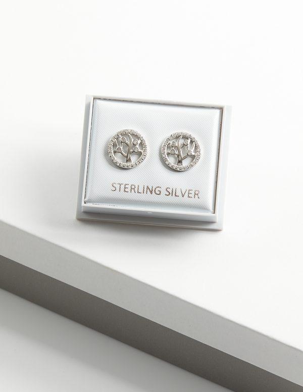 Callel 925 Sterling Silver Clear CZ Tree of Life Stud Earrings