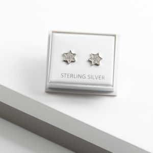 925 Sterling Silver Clear Cubic Zirconia Star Stud Earrings