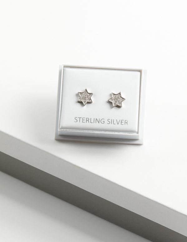 Callel 925 Sterling Silver Clear CZ Star Stud Earrings