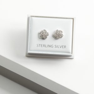 925 Sterling Silver Swirl Flower Cubic Zirconia Stud Earrings