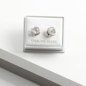 925 Sterling Silver Knot Clear Cubic Zirconia Stud Earrings