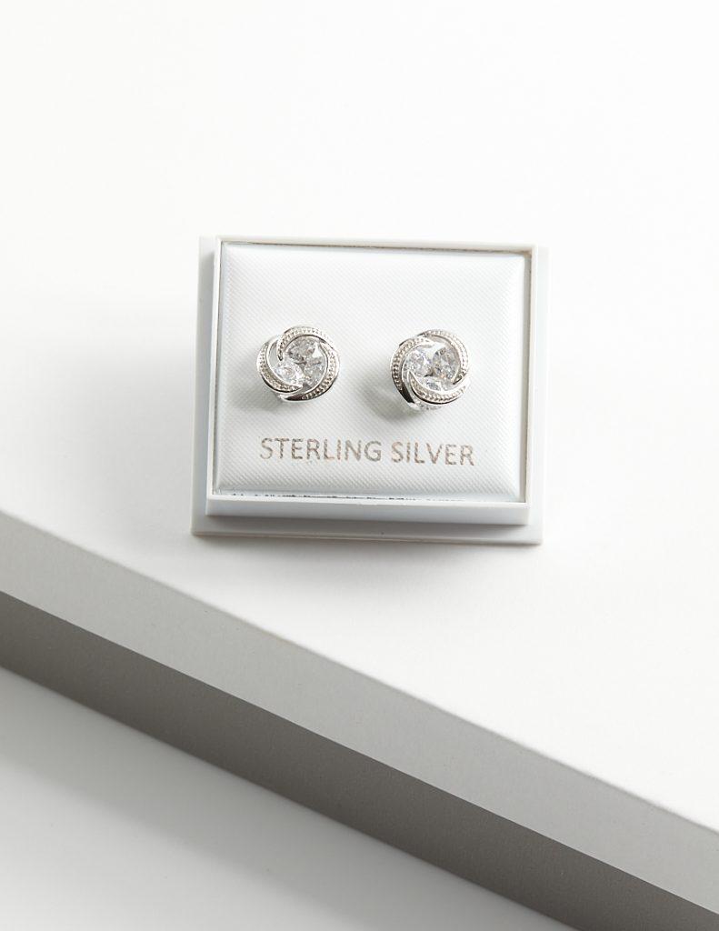 Callel 925 Sterling Silver Knot Clear CZ Stud Earrings