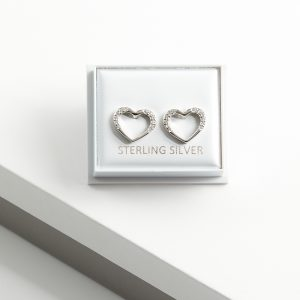 925 Sterling Silver Clear CZ Open Heart Stud Earrings