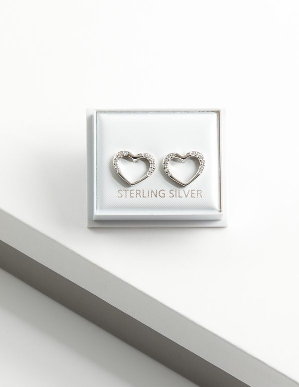 Callel 925 Sterling Silver Clear CZ Open Heart Stud Earrings