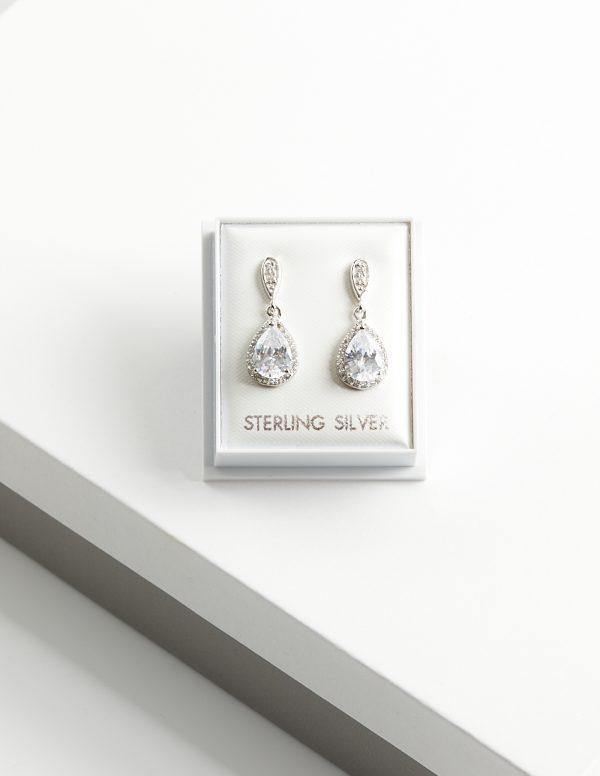 Callel 925 Sterling Silver Clear CZ Teardrop Drop Earrings
