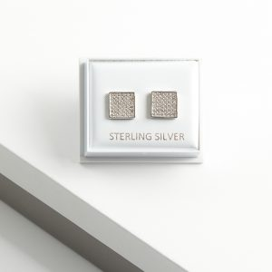 925 Sterling Silver Clear Cubic Zirconia Square Stud Earrings