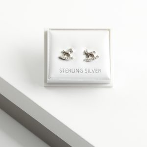 925 Sterling Silver Clear Cubic Zirconia Rocking Horse Stud Earrings