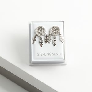 925 Sterling Silver Clear Cubic Zirconia Dream Catcher Stud Earrings