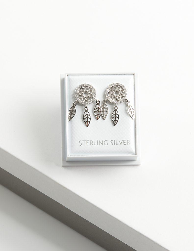 Callel 925 Sterling Silver Clear CZ Dreamcatcher Stud Earrings