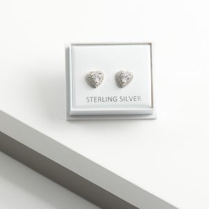 925 Sterling Silver Cubic Zirconia Heart Earrings