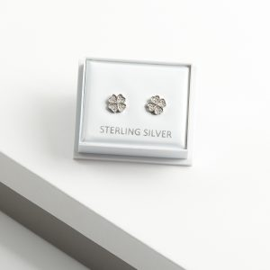 925 Sterling Silver Clear Cubic Zirconia Clover Stud Earrings
