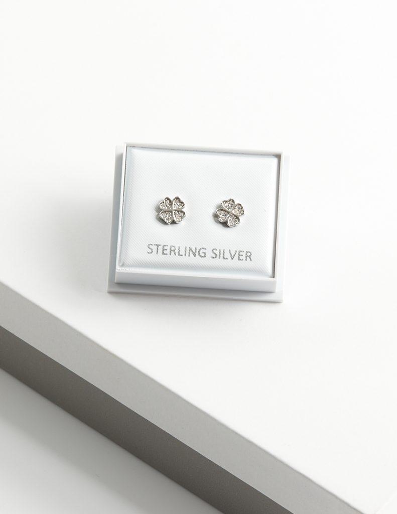 Callel 925 Sterling Silver Clear CZ Clover Stud Earrings