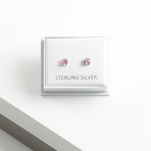 925 Sterling Silver Pink Cubic Zirconia Stud Earrings