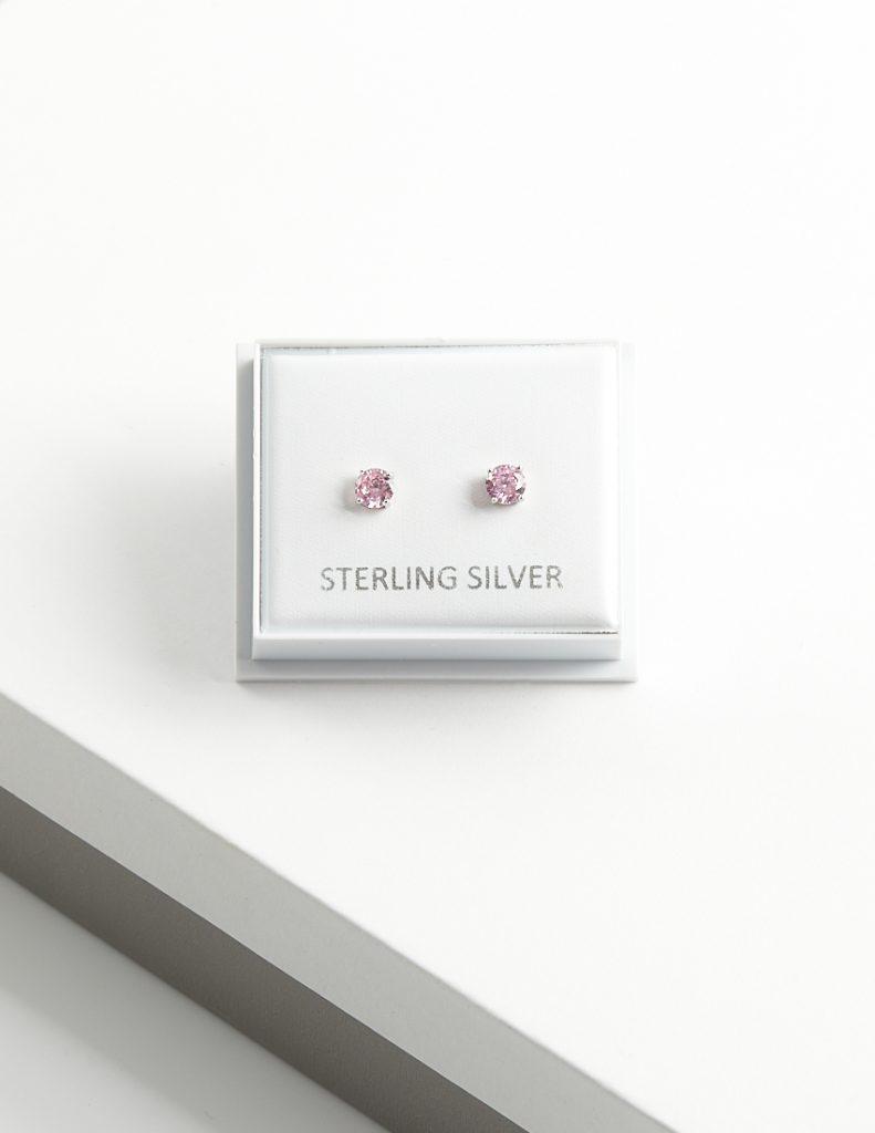 Callel 925 Sterling Silver Pink CZ Stud Earrings