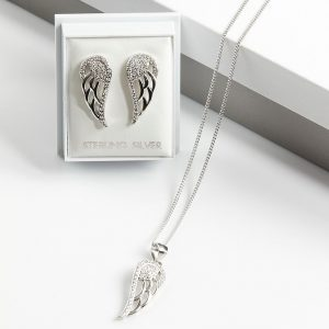 925 Sterling Silver Clear Cubic Zirconia Angel Wing Jewellery Set
