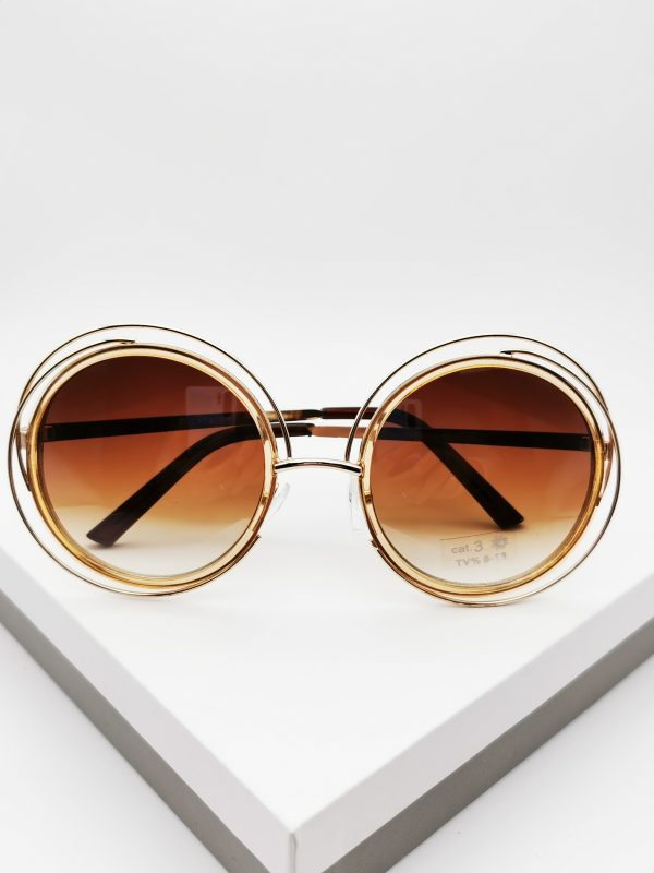 Callel Brown cut-out detail round sunglasses