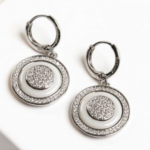 Silver Cubic Zirconia Ceramic Disc Dangle Earrings