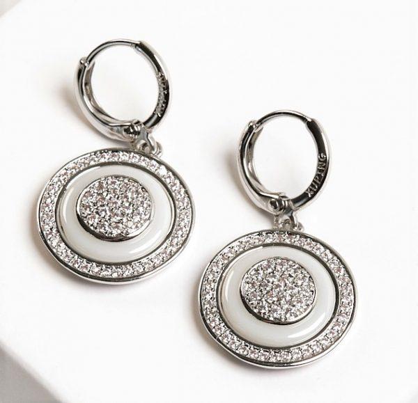 Callel Silver Cubic Zirconia Ceramic Disc Dangle Earrings
