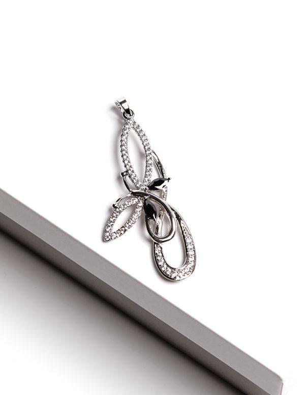 Callel Black Stone Silver Cz Butterfly Pendant