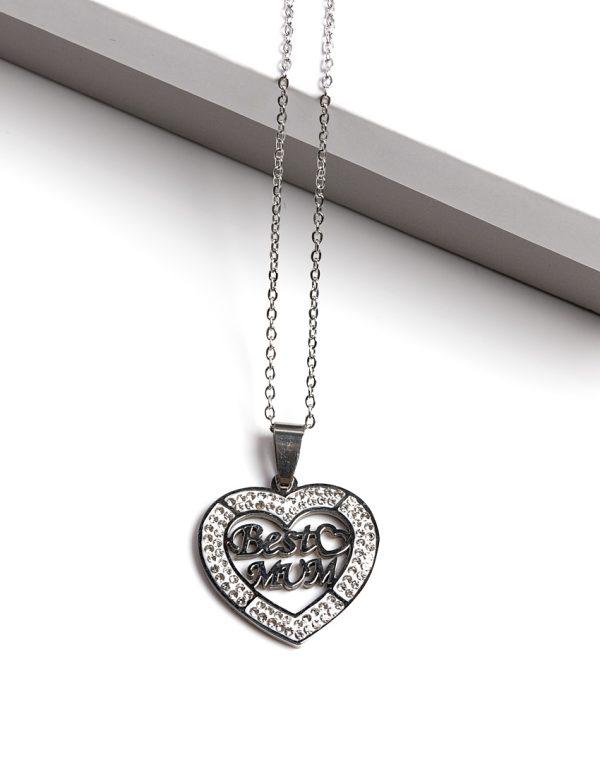 Callel Silver Best Mum Heart Pendant Necklace