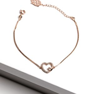 18K Gold Cubic Zirconia Heart Bracelet