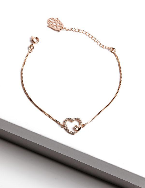 Callel 18K Gold Cubic Zirconia Heart Bracelet