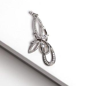 Silver Cubic Zirconia Butterfly Earrings Pendant