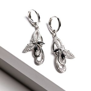 Black Stone Silver Cubic Zirconia Butterfly Earrings