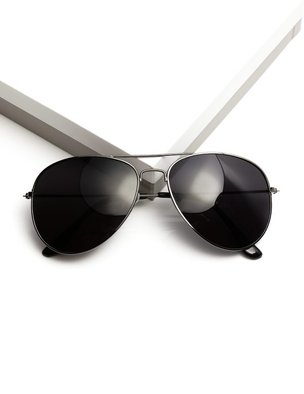 Callel Black Metal Aviator Sunglasses