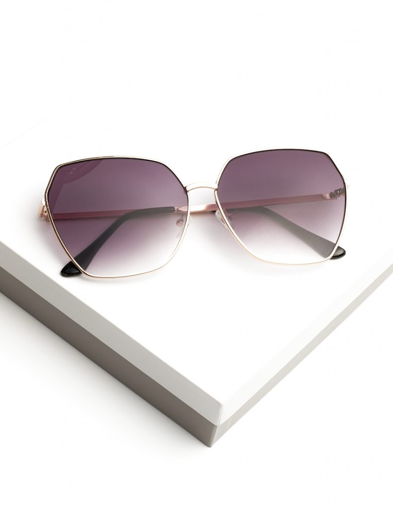 Callel Purple Oversized Octagon Sunglasses
