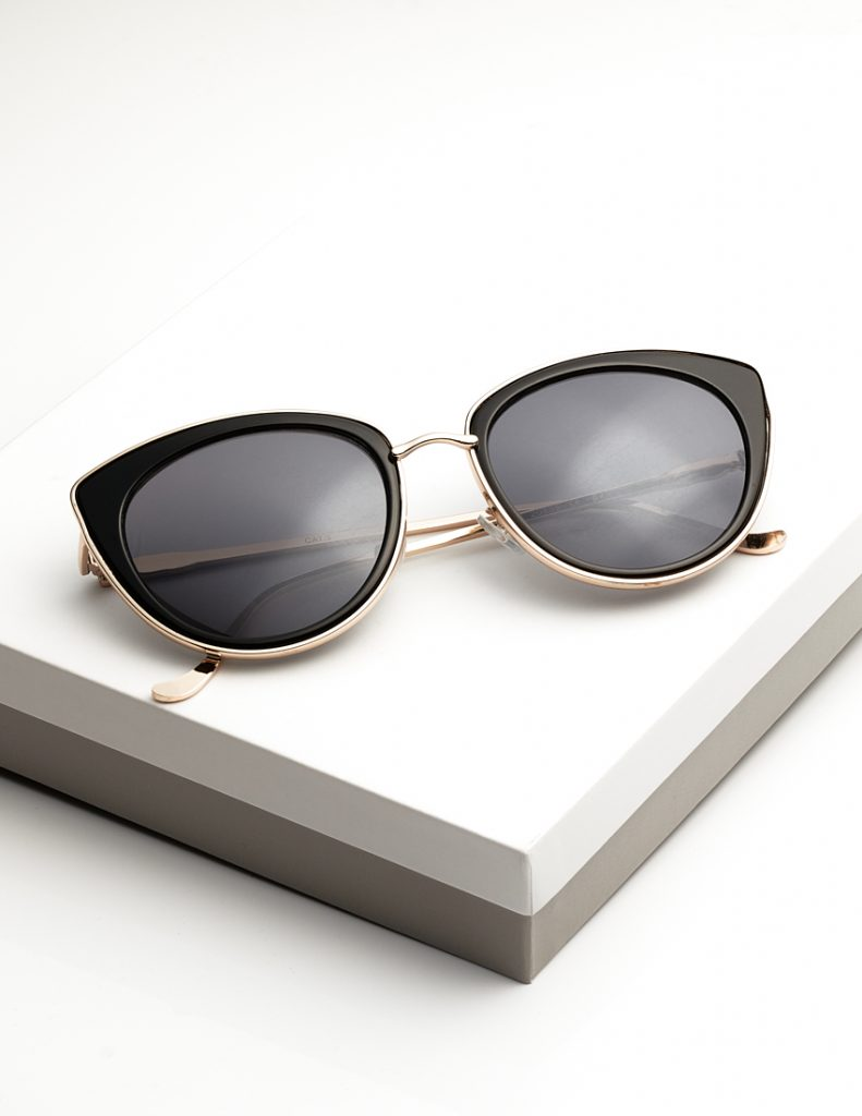 Callel Black iridescent cateye sunglasses