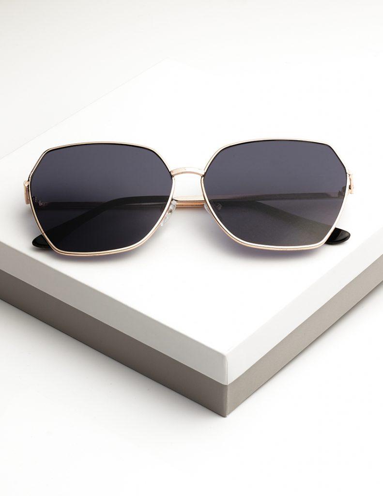 Callel Black Oversized Octagon Sunglasses