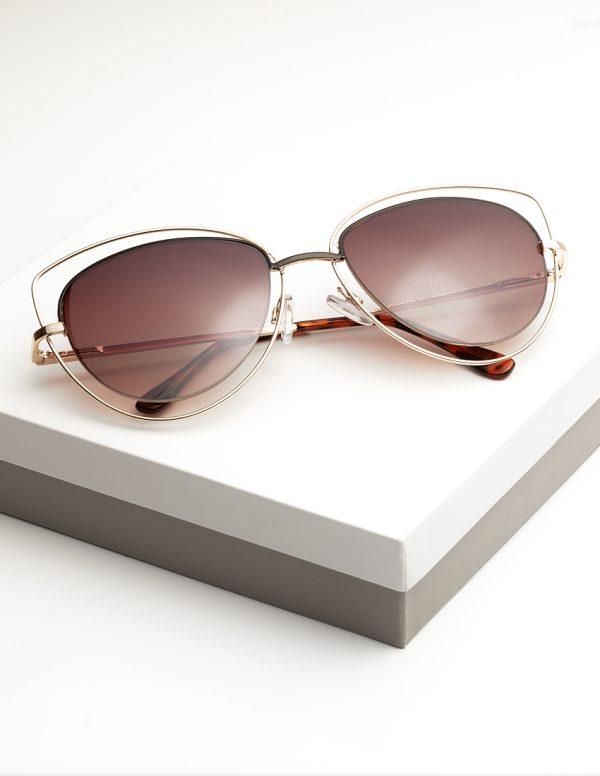 Callel Dark Brown Metal Detail Cat Eye Sunglasses
