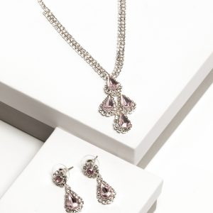 Pink Diamante Necklace & Drop Earrings Jewellery Set