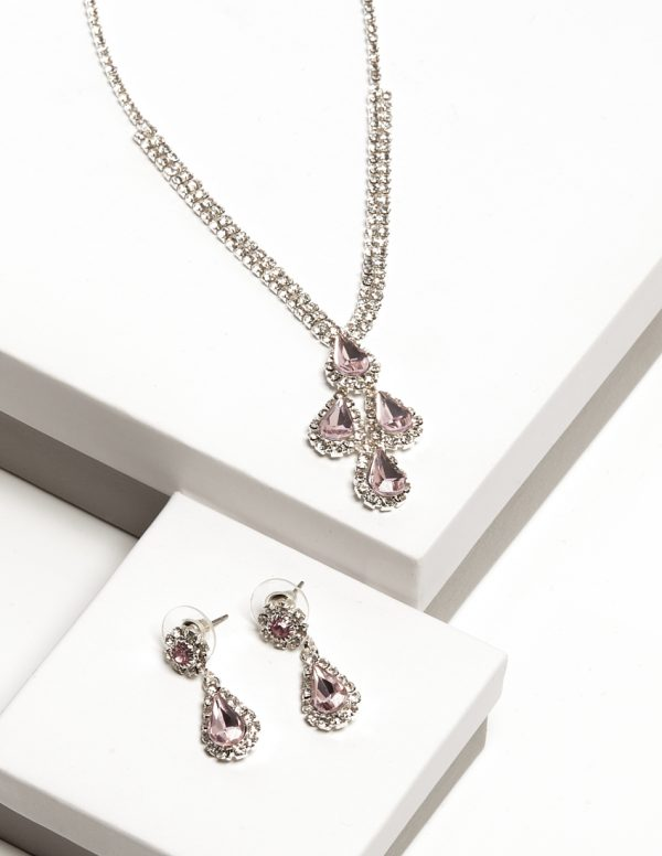 Callel Pink Diamante Necklace & Drop Earrings Jewellery Set