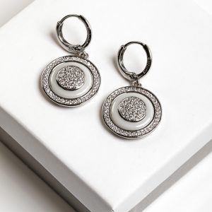 Silver Cubic Zirconia Ceramic Disc Dangle Earrings
