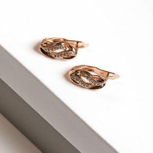 18K Gold Cubic Zirconia Latch Back Earrings