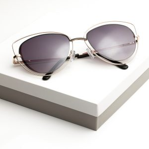Dark Purple Metal Detail Cat Eye Sunglasses