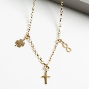 Infinity & Cross & Four Leaf Clover Celebrity Necklace