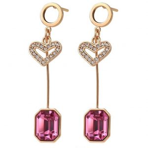 Heart Drop Earrings Embellished With Rose Colour Crystal From Swarovski